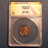 - 1909 S LINCOLN CENT - ANACS EF 45 - A SHARP ATTRACTIVE KEY DATE COIN