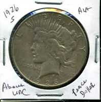 1926 S AU PEACE DOLLAR ABOUT UNCIRCULATED 90 SILVER COMBINED SHIP$1 COINWCC925