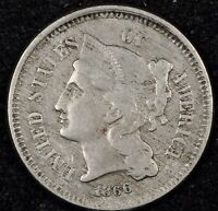 BEAUTIFUL CIRCULATED VF 1866 THREE CENT NICKEL. GREAT ALBUM TYPE COIN 2