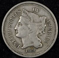BEAUTIFUL CIRCULATED F 1868 THREE CENT NICKEL. GREAT ALBUM TYPE COIN 1