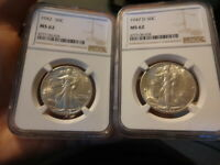 1942 AND 1947-D, BOTH NGC MINT STATE 62, LIBERTY WALKING HALF DOLLARS