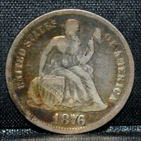 1876-CC SEATED LIBERTY DIME  F FINE DETAILS  10C CARSON CITY  TRUSTED