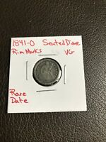1841-O SEATED LIBERTY DIME VG DETAILS RIM MARKS