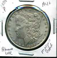 1889 P AU MORGAN DOLLAR 90 SILVER COIN ABOUT UNCIRCULATED COMBINE SHIP$1 WC935
