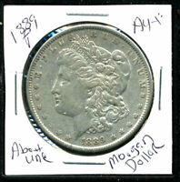 1889 P AU MORGAN DOLLAR 90 SILVER ABOUT UNCIRCULATED COMBINE SHIP$1 COINWC1426