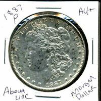 1887 P AU MORGAN DOLLAR 90 SILVER COIN ABOUT UNCIRCULATED COMBINE SHIP$1 C1350