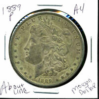1889 P AU MORGAN DOLLAR 90 SILVER COIN ABOUT UNCIRCULATED COMBINE SHIP$1 C1301