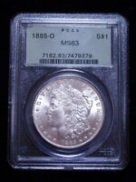 1885-O MORGAN SILVER DOLLAR - PCGS MINT STATE 63 OLD GREEN HOLDER