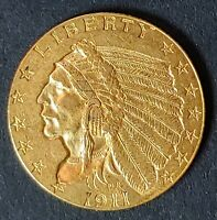 1911 INDIAN HEAD GOLD QUARTER EAGLE. STRONG AU