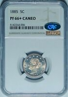 1885 5C NGC PF66 CAMEO CAC SUPERB GEM PLUS PROOF LIBERTY V NICKEL KEY DATE COIN