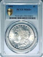 1882 $1 PCGS MINT STATE 65 GEM PLUS UNCIRCULATED UNC MORGAN SILVER DOLLAR COIN