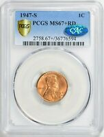 1947 S LINCOLN WHEAT CENT 1C PCGS & CAC MINT STATE 67 RD RED PQ SHIPS FREE