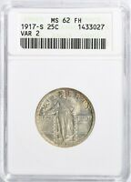 1917 S V2 STANDING LIBERTY QTR 25C ANACS MINT STATE 62FH ELUSIVE FULL HEAD FREE SHIP