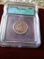 1875CC TWENTY CENT 20C ICG  F15   133K MINTAGE   HIGHLY SOUG