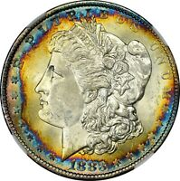 1883-O $1 MORGAN SILVER DOLLAR  NGC MINT STATE 62  RAINBOW TONED TONING 004 TRUSTED