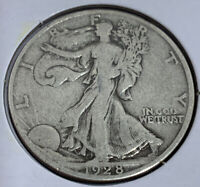 1928 S WALKING LIBERTY HALF DOLLAR  F-VF FULL DATE AND RIMS  DETAILS A SLOT