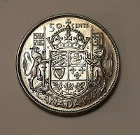 1945 CANADA 50 CENTS COIN  80  SILVER    KING GEORGE VI