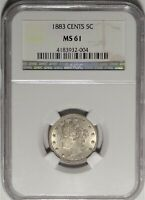 1883 CENTS 5C NGC MINT STATE 61 CHOICE UNCIRCULATED UNC LIBERTY V NICKEL FIRST YEAR COIN