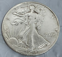 1942-S WALKING LIBERTY SILVER HALF DOLLAR -   AU WITH BU BEAUTY AWESOME COIN 1
