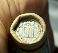 3 CENT NICKEL TAIL AND 1897 INDIAN HEAD CENT MOMS ROLL OF 50