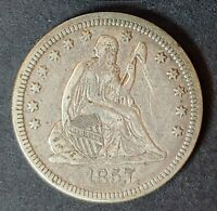 1857 SEATED LIBERTY NO RAYS OR ARROWS VF PROBLEM FREE