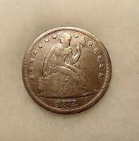 1872 LIBERTY SEATED SILVER DOLLAR - BETTER DATE -   LOOKING COIN