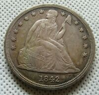 1842-P SEATED LIBERTY $1 DOLLAR AU-UNC LIGHTLY CLEANED OBVERSE SURFACE SCRATCHES