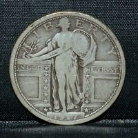 1917-D T1 STANDING LIBERTY QUARTER  F FINE  25C SILVER TYPE 1  TRUSTED