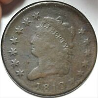 1810 CLASSIC HEAD LARGE CENT FINE F DETAILS EARLY COPPER 1C TYPE COIN