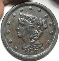 1857 BRAIDED HAIR HALF CENT ALMOST UNCIRCULATED DETAIL KEY DATE 1/2C COIN