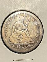 1853 SEATED LIBERTY QUARTER ARROWS & RAYS VG CIRCULATED US C