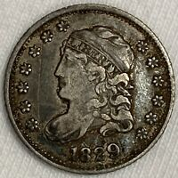 1829 CAPPED BUST HALF DIME SILVER COIN  1ST YEAR TYPE L309
