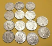 LOT OF 14 SILVER PEACE DOLLARS VF 90 SILVER COINS 8-1922-S, 3-1922-D, 3-1922