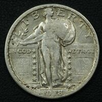 1918 D STANDING LIBERTY SILVER QUARTER - CLEANED
