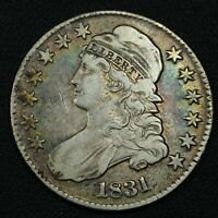 1831 CAPPED BUST SILVER HALF DOLLAR - GRAFFITI & CLEANED