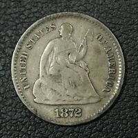 1872 S SEATED LIBERTY SILVER HALF DIME - SCRATCH