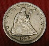 US MINT 1875 S SEATED LIBERTY SILVER QUARTER COIN FREE SHIPP