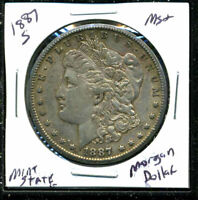1887 S AU MORGAN DOLLAR 90 SILVER COIN ABOUT UNCIRCULATED COMBINE SHIP$1 C1588