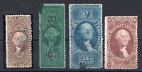 4 FIRST ISSUE REVENUE STAMPS. R84C R97C TORN AND THINS  R96C