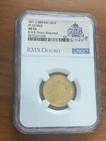 GOLD SOVEREIGN 1871 VICTORIA/ST.GEORGE NGC AU 53 RMS DOURO SHIPWRECK COIN