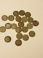 JOB LOT 21 X OLD SILVER COINS THREEPENCE BRITISH AND SOUTH A