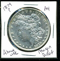 1879 P AU MORGAN DOLLAR 90 SILVER ABOUT UNCIRCULATED COMBINE SHIP$1 COINWC1394