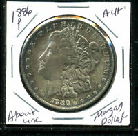 1886 P AU MORGAN DOLLAR 90 SILVER COIN ABOUT UNCIRCULATED COMBINE SHIP$1 C3160