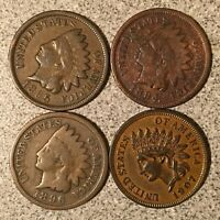 1894 1895 1896 1907 INDIAN HEAD CENT LOT