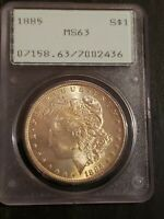 1885 UNITED STATES MORGAN 90 SILVER DOLLAR $1 PCGS MINT STATE 63
