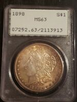 1898 UNITED STATES MORGAN 90 SILVER DOLLAR $1 PCGS MINT STATE 63