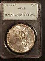 1899 O UNITED STATES MORGAN 90 SILVER DOLLAR $1 PCGS MINT STATE 63