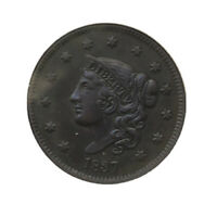 1837 CORONET HEAD LARGE CENT ANACS AU DETAILS  GREAT COLOR P