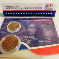 2009 WILLIAM HENRY HARRISON PRESIDENTIAL $1 COIN & FIRST SPOUSE ANNA MEDAL SET