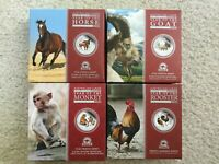 AUSTRALIA PERTH ANDA 2 OZ SILVER COLORIZED PROOF COINS HORSE GOAT MONKEY ROOSTER